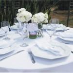 Mesa de convidados para almoco com guardanapos de tecido,  pratos, garfos, facas e tacas