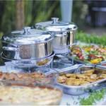 Mesa de banquete com Rechauds Lazanheira bandeja de salada
